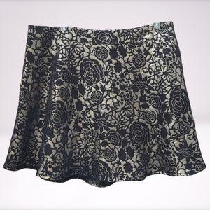 Forever 21+ Black Gold Floral Metallic Flare Skirt